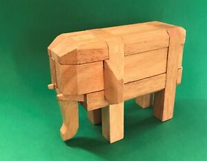 KUMUKI Wooden Elephant Puzzle NWOT 3D Pieces Brain Teaser Jungle Animal Game