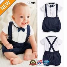 2pcs Toddler Baby Infant Boys Outfits Bow Tie+T-shirt+Bib Kids Clothes Set CD018