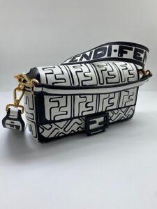 Fendi Baguette Woman Shoulder Bag Print FF Black and White New