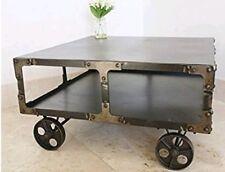 VINTAGE/ ANTIQUE METAL INDUSTRIAL COFFEE TABLE ON WHEELS