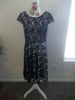 Alex Marie Women Black Sleeveless Floral Lace Overlay Dress Size 14