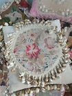 Victorian needlework tapestry cushion pillow beautiful  colour