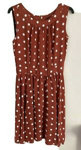 Dorothy Perkins Size 16 Tan Spotted Dress -(C013)