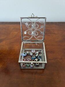 Glass Jewellery Box with Similar Pandora Beads charms  etc....