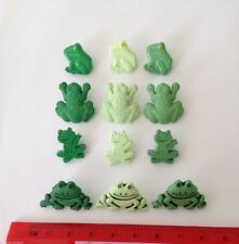 Frog Buttons Lot Craft Supplies 12 Green Frogs Novelty Buttons by Dress It Up