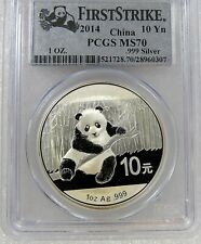 GEM SUPERB 2014 10 YN YUAN PANDA 1 OZ SILVER COIN CHINA PCGS MS70 FIRST STRIKE