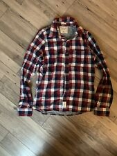 Abercrombie Fitch Red White Blue Plaid Flannel Button Up M Muscle