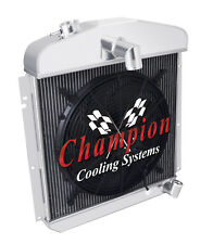 """3 Row Performance Champion Radiator W/ 16"""" Fan for 1947 1948 1949 Plymouth Coupe"""
