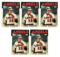1986 Topps Baseball LOT of 5 ROD CAREW #400 CALIFORNIA ANGELS ** HIGH GRADE **