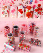10 pcs HOLO Love Heart valentine's day Rose Nail Foil Transfer Decals Manicure