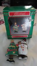 CHRISTMAS ORNAMENTS HOLIDAY RAP AND COOL S. SNOWMAN SET OF TWO DANGLING FEET