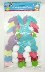 Multi Color Felt Easter Bunny Garland with Pompom Pom Pom