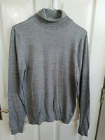 NEXT MENS GREY THIN KNITTED POLO NECK JUMPER SIZE SMALL PIT TO PIT 17 LENGTH 28