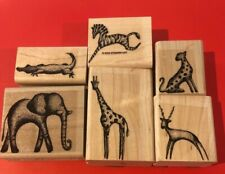 6 Africa Or Zoo Animals Stampin up wood rubber stamps