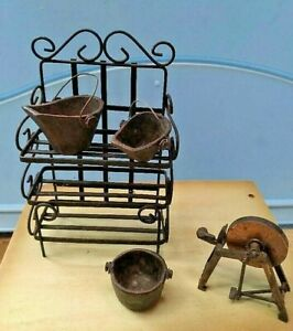 Doll house miniatures, collectibles, wrought iron shelf, pots, grinding wheel