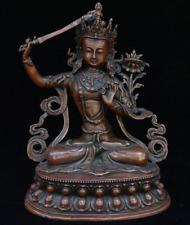 """12"""" Tibet Buddhism Bronze Wen shu Manjushri Manjusri Boddhisattva Goddess Statue"""