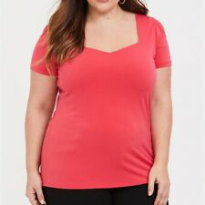 Torrid 2/3/4/5X Shirt Tee Crepe Red/Orange Plus Size Sweetheart Neck Top NWT