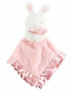 NWT Carters Pink White Bunny Rabbit Satin Security Blanket Plush Baby Toy Lovey