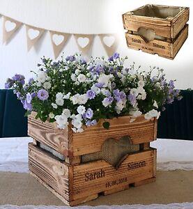 Vintage Hochzeit OBSTKISTE TISCHDEKO Holz Deko Geschenk Blumen Boho Rustikal