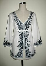 MICKHAEL KORS WHITE NAVY EMBROIDERED PEASANT TOP BLOUSE SIZE SP