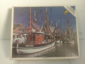 Vintage Whitman 1000pc Puzzle East Friesland Holland Fishing Boats Complete