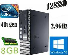 DELL 9020 USFF intel Core  i5-4590S 2.9GHz 4th Gen 8GB RAM 128SSD Windows10