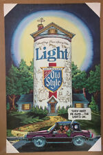 """Vintage Mint Old Style Beer Light Poster - """"They must be home.the Light's on�"""