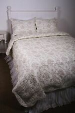 Queen Quilt Set French Country Cameo Ivory Tan Medallion Toile Cotton