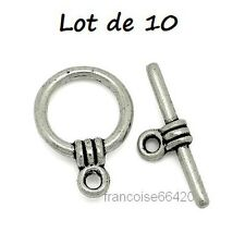 10 pcs Fermoirs TOGGLE / ROND  15mm / PERLE APPRET CREATION BIJOUX COLLIER #F017