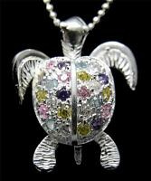 STERLING SILVER 925 HAWAIIAN 3D MOVING SEA TURTLE PENDANT MULTI COLOR CZ 17.80MM