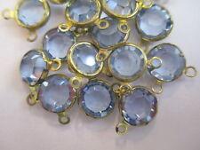 24 Swarovski Light Sapphire Channels in 2-Ring Brass Settings - 9mm - Sparkle