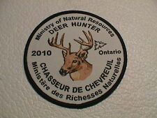 2010 ONTARIO CANADA MINISTRY NATURAL RESOURCES SUCCESSFUL DEER HUNTER GUN PATCH