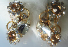 Wingback Fabulous Clear and Honey tone Rhinestone Cluster Pierced Earrigs rare