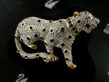 Signed Swarovski Pave' Crystal Gold Leopard Pin ~Brooch Retired Rare New