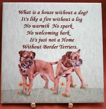 BORDER TERRIER DOG HARDBOARD PLAQUE TILE WATERCOLOUR PRINT SANDRA COEN ARTIST