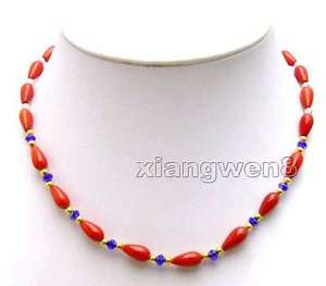 """5*9mm Drop Natural Red Coral Necklace for Women Rhinestone Chokers 17"""" Jewelry"""