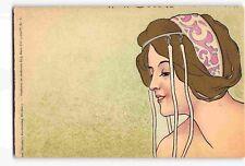 jwf03a: LOVELY WOMAN, Beautiful circa 1902 Henri Meunier lithograph postcard