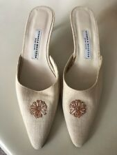 Stubbs & Wootton NWOB Tan Canvas Embroidered Mules Kitten Heels Size 10 1/2 B