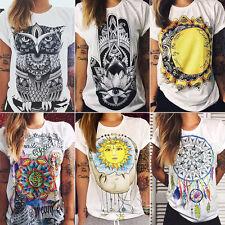 Damen T-Shirt Bluse Top Kurzarm Damenshirt Freizeit Oberteil Tanktop Hemd Sommer