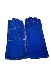 12 Pairs 14 In Lined Leather Welding Gloves Heat Resistant Blue Tig Welder Bbq