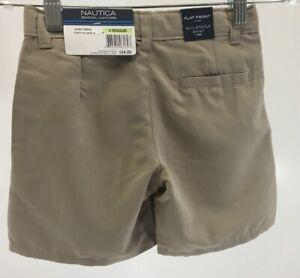 Nautica Boys School Uniform Shorts Flat Front Adjustable Waist Khaki Size 4 NWT