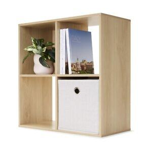 4 Cube Display Unit Oak Look Bookshelves Shelves Bookcase Storage Organizer