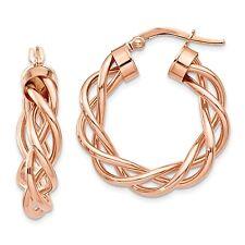 14k Solid Rose Gold Twisted Hoop Earrings