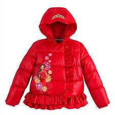 Disney Store Elena of Avalor Girls Red Puffy Ruffle Winter Coat Jacket Size 7/8