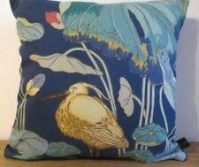 GP&J Baker Nympheus Stork Birds Cotton & Blue Velvet Fabric Cushion Cover