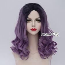 Black Mixed Purple Lolita Wig Heat Resistant Anime Cosplay Halloween Curly Short