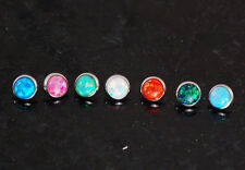 7 Pc 316L Surgical Steel 14g 5MM Mixed Fire Opal Stone Dermal Anchor Top