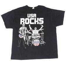 Rock Band Abraham Lincoln On The Drums USA Flag Funny T-Shirt Tee Men's 2XL
