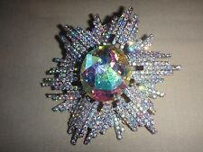 Aurora Borealis Crystal Flower Star Brooch Pin Necklace Pendant Brooch