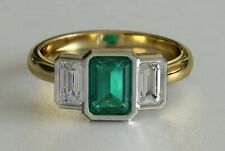 2ct Green Emerald Cut Engagement Ring Trilogy Bezel Set 14k Dual Gold Finish